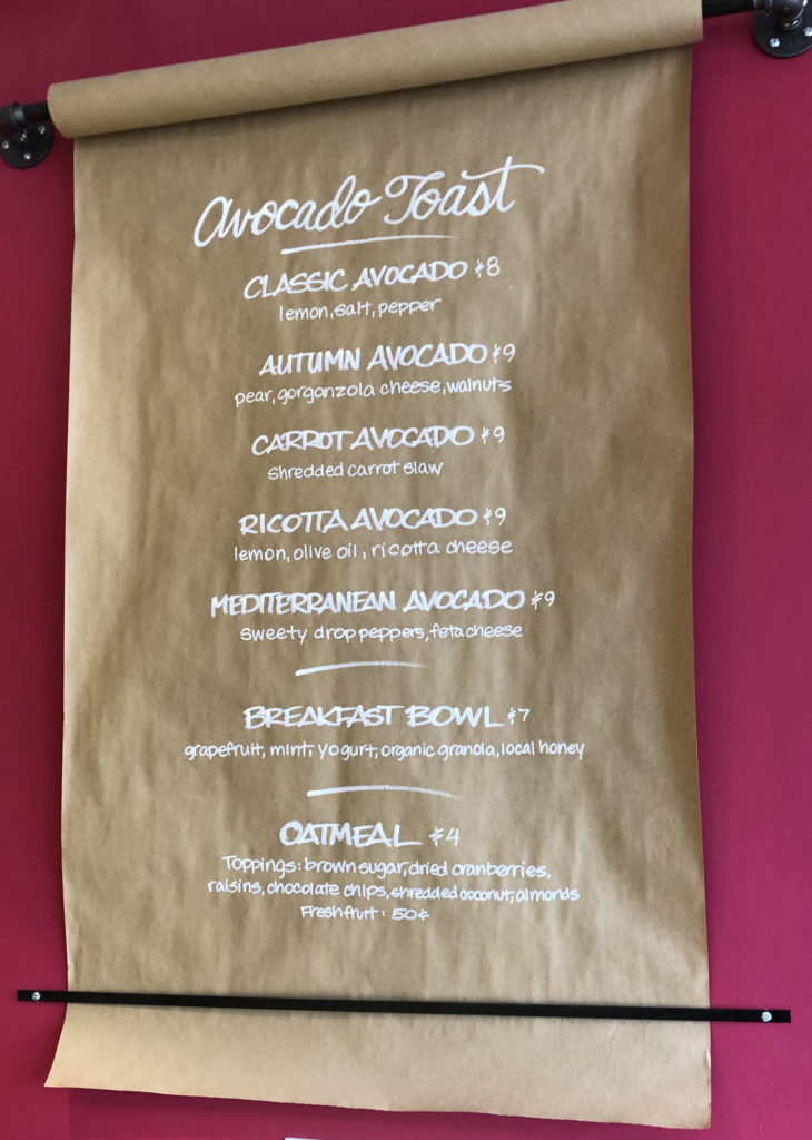 Avocado Toast Menu