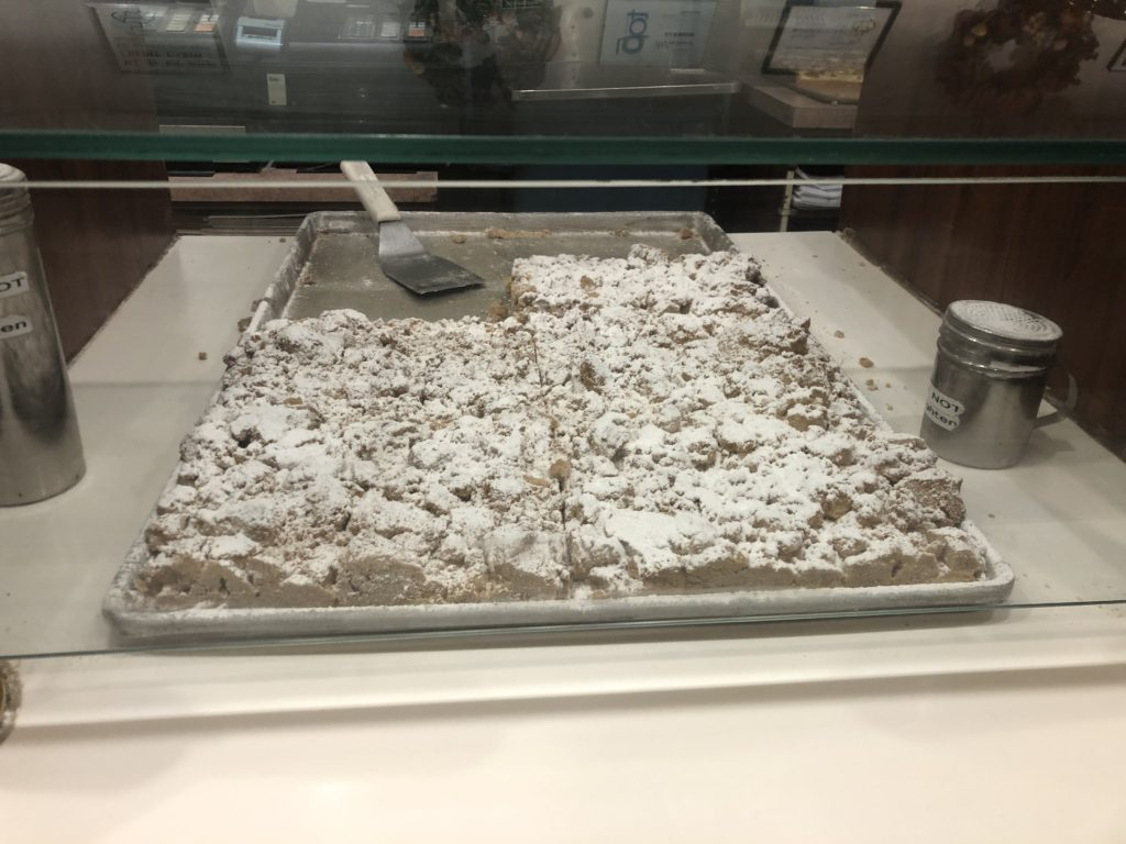 Crumb Cake with Confectioners Sugar