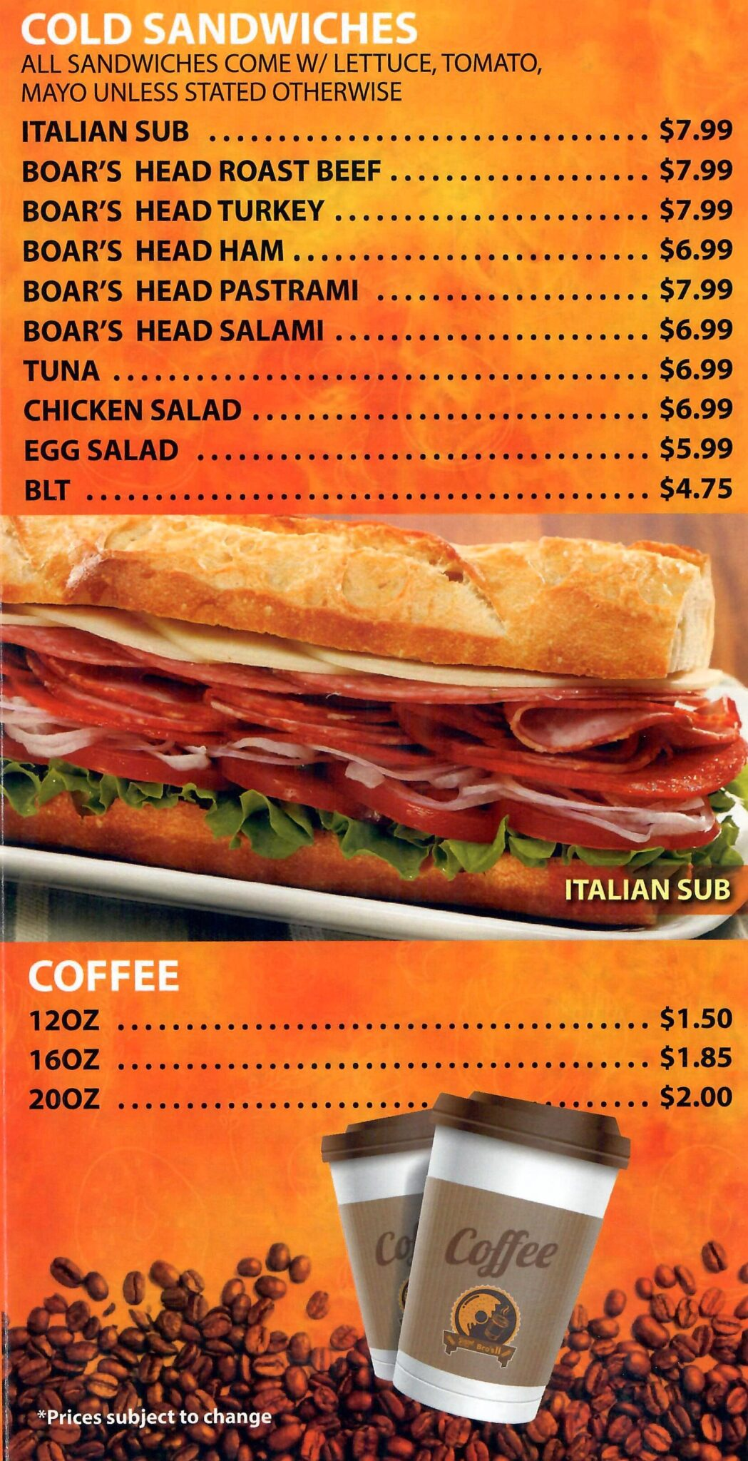 Bagel Bros 2 - Menu 3